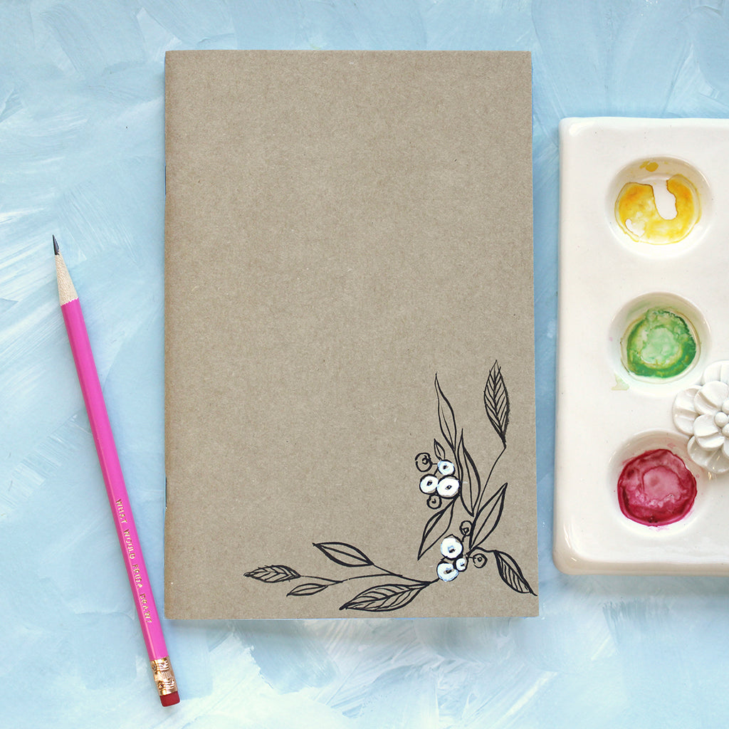 Painted Notebook - Vines and Berries