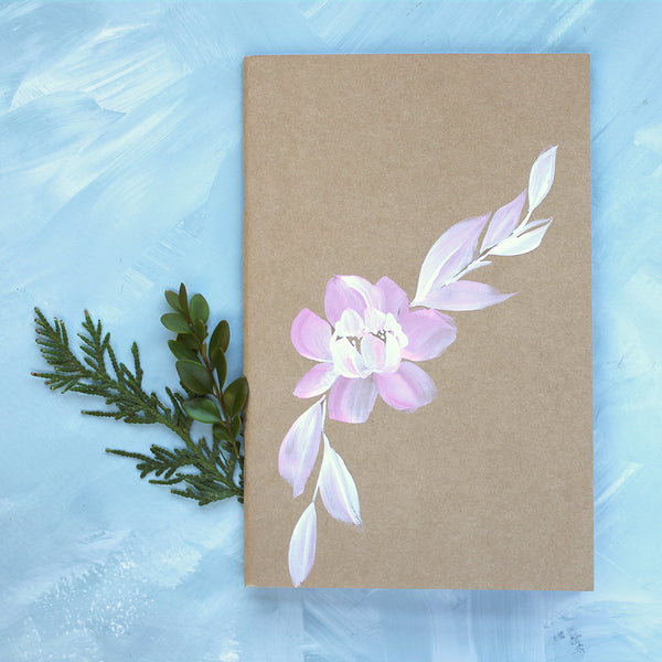 Painted Notebook - Pink Peony