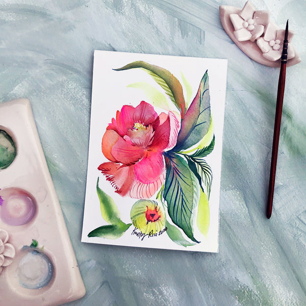 Paint and Take Original Watercolor - Peach Peony