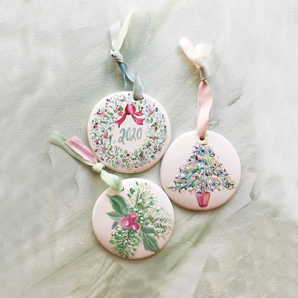 Trio of Custom Colorway Hand Painted Ornaments