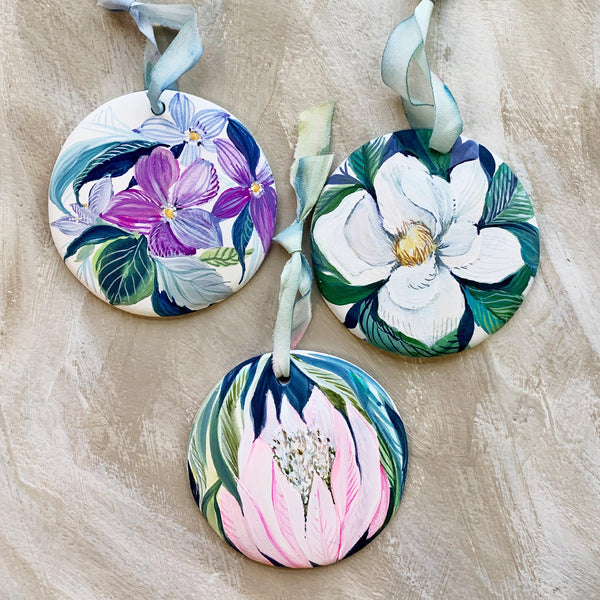 Trio of Custom Hand Painted Floral Ornaments