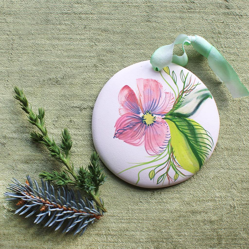 Hand Painted Ornaments - Small Pink Flower