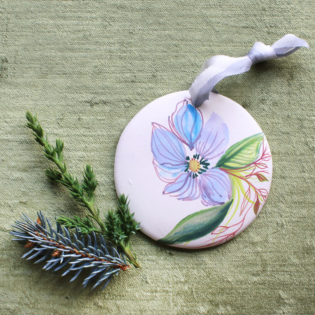 Hand Painted Ornaments - Blue Flower