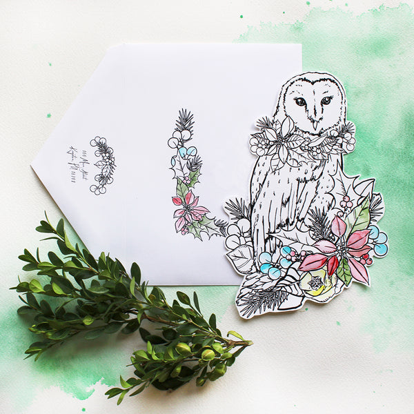 Holiday Owl #watercolorkiss Notecard - Self Mail Option