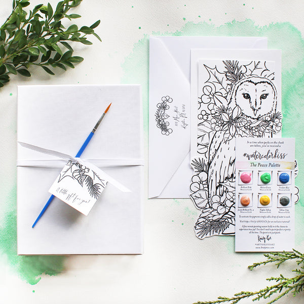 Holiday Owl #watercolorkiss Notecard - Drop Ship Option