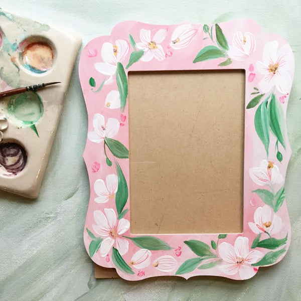 Hand Painted Photo Frame - White Blooms