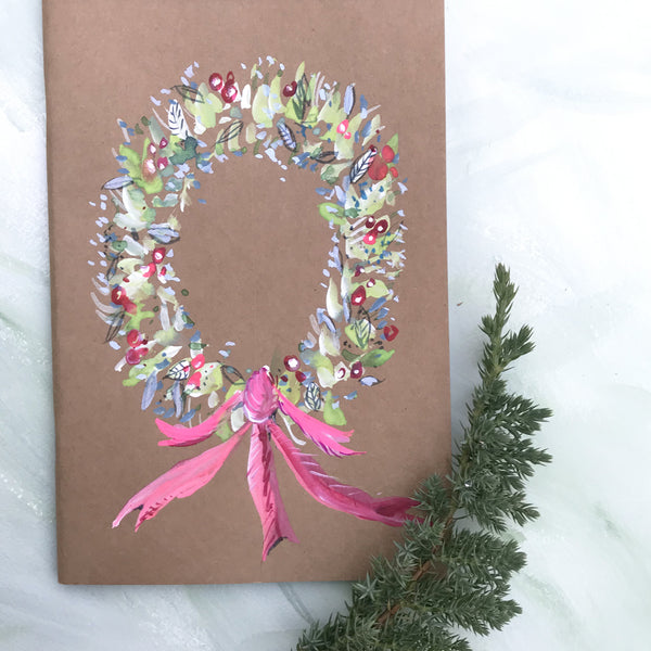 Painted Notebook - Holiday Wreath