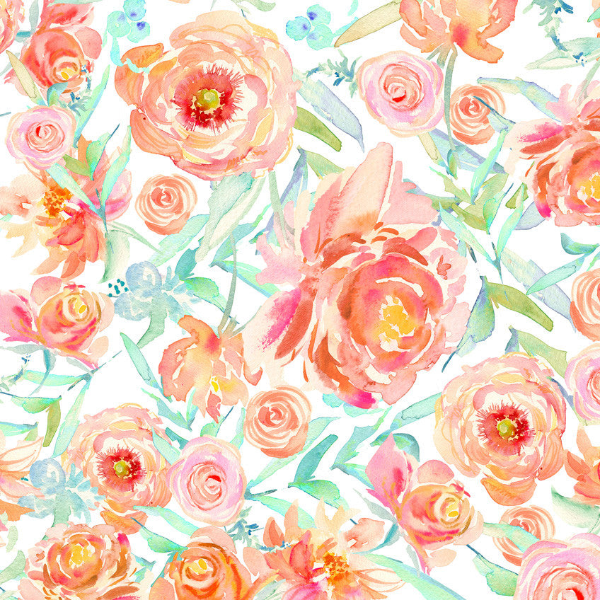 Peach Peony Watercolor Wallpaper