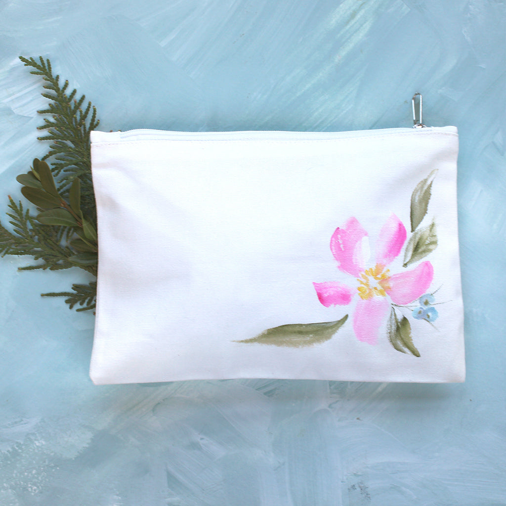 Hand Painted Pencil Case - Pink Flower & Berries