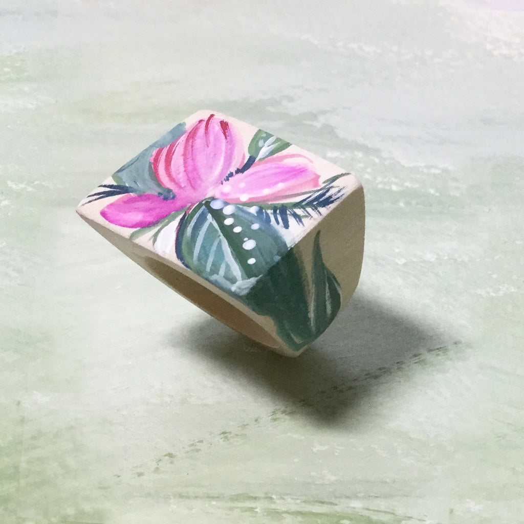 Hand Painted Wooden Ring - Fuchsia Bloom