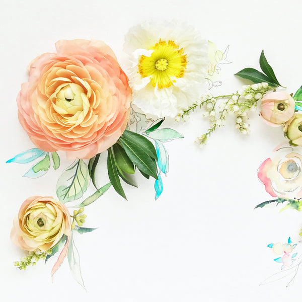 Ranunculus Rhapsody - Watercolor Fragments Art Print