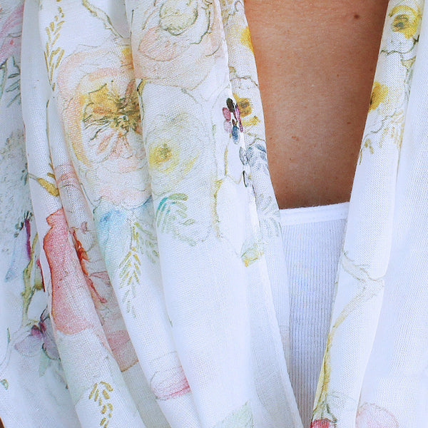 Floral White Vine Watercolor Silk Scarf