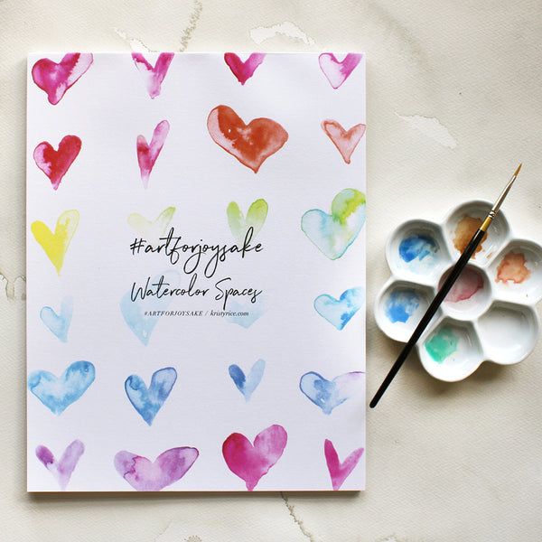 Hearts Watercolor Spaces - Watercolor Notebook