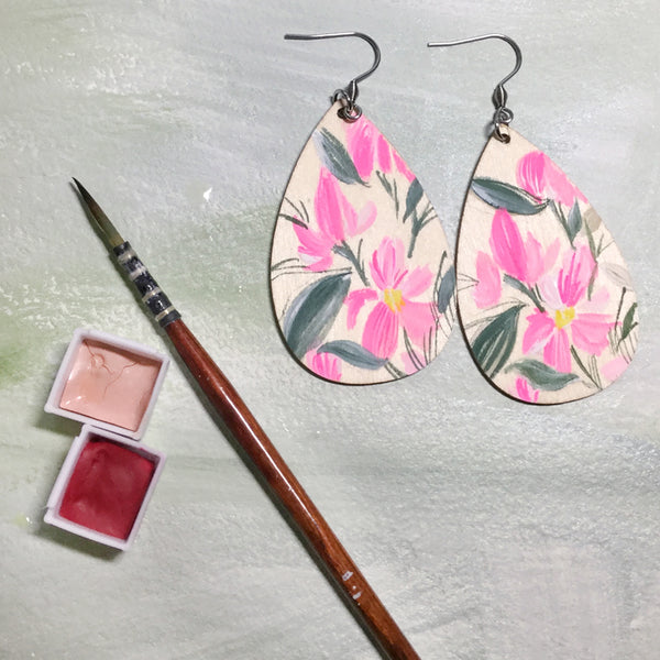 Hand Painted Wooden Teardrop Earrings - Pink Floral
