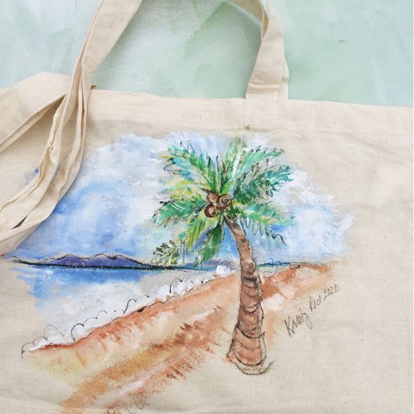 Hand Painted Canvas Tote Bag - Beachy Scene