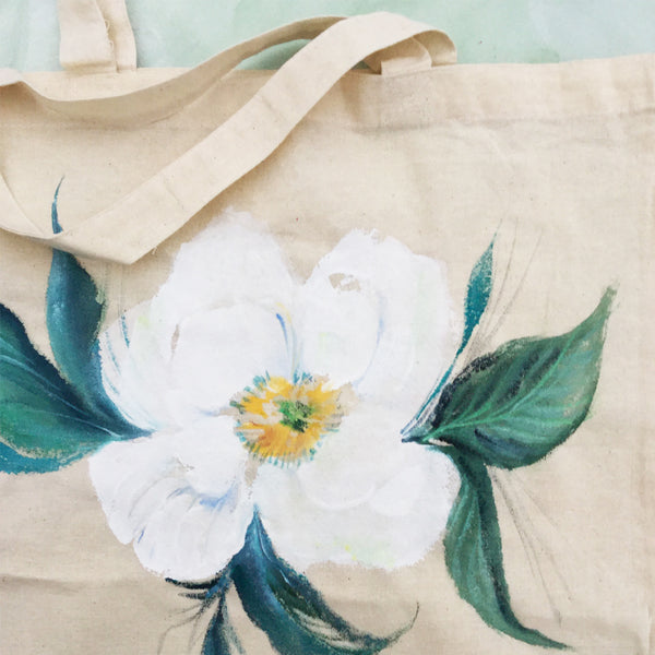Hand Painted Canvas Tote Bag - Magnolia