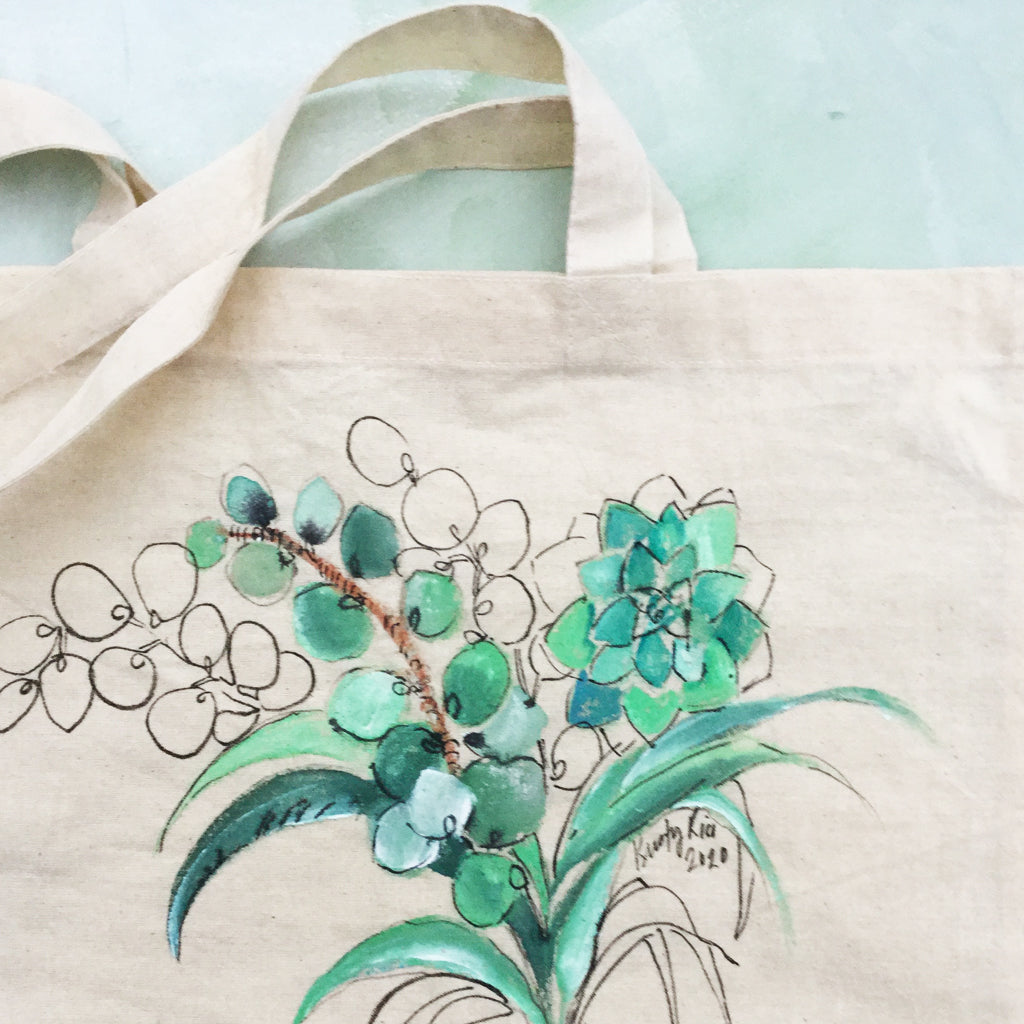 Hand Painted Canvas Tote Bag - Succulents