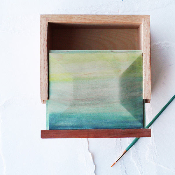 Watercolor and Exotic Wood Slide Top Box