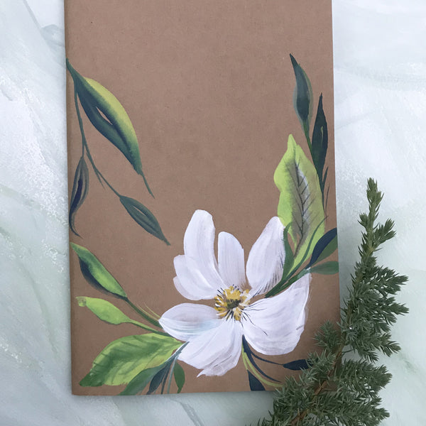 Painted Notebook - White Bloom