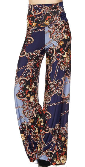 Print Palazzo Pant With Fold Over Waist