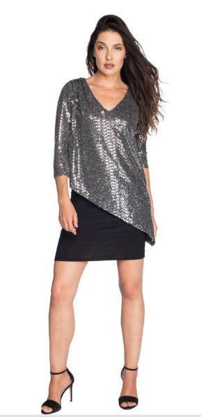Last Tango Versatile Sequin 2 Layer V- Neck with  Bottom Ruched Dress or Tunic