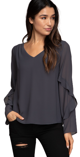 Tiered Long Sleeve Vee Neck Top