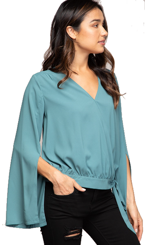 Tie Front Slit Sleeve Blouse Perfect for Work & Play