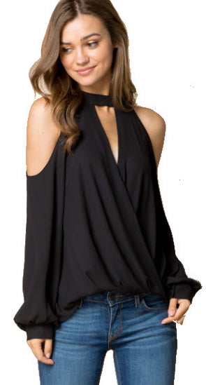 Sexy Surplice Cold Shoulder Long Sleeve High Neck  Top w/ Front Cut Out