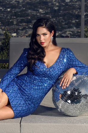 Royal Blue Grid Sequin Long Sleeve Dress