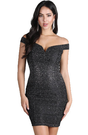 Hot Fix Stone Embellished Off Shoulder Dress
