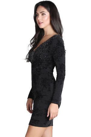 Stone Embellished Long Sleeve Textured Flocked Dress