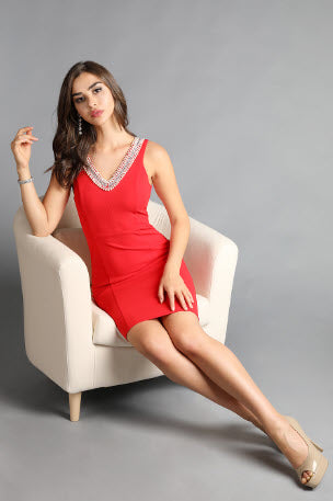 Pearl Beaded V Neck Solid Red Dress