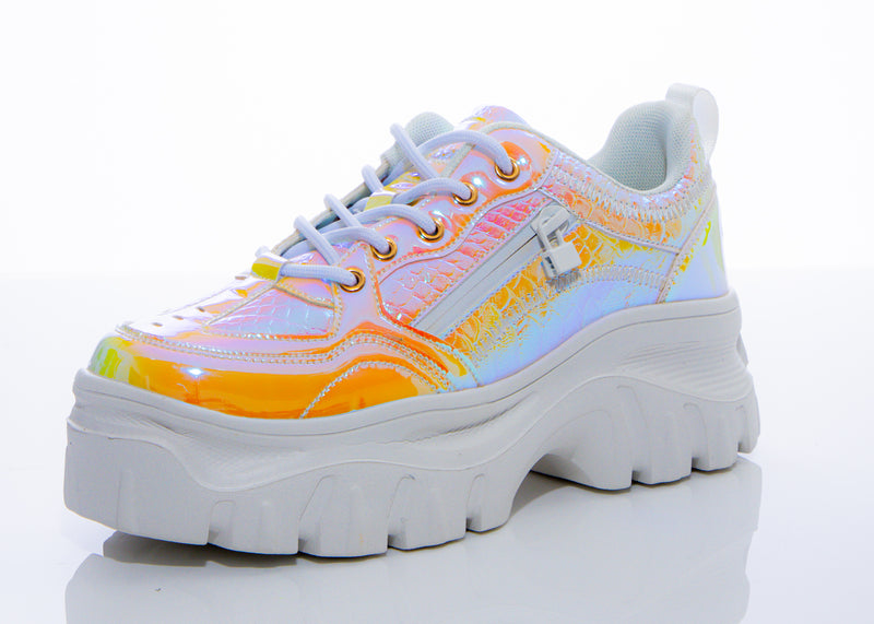 Iridescent Yellow Snake Trainer Sneaker