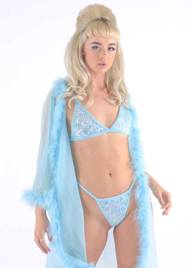 Baby Blue Sequin Thong