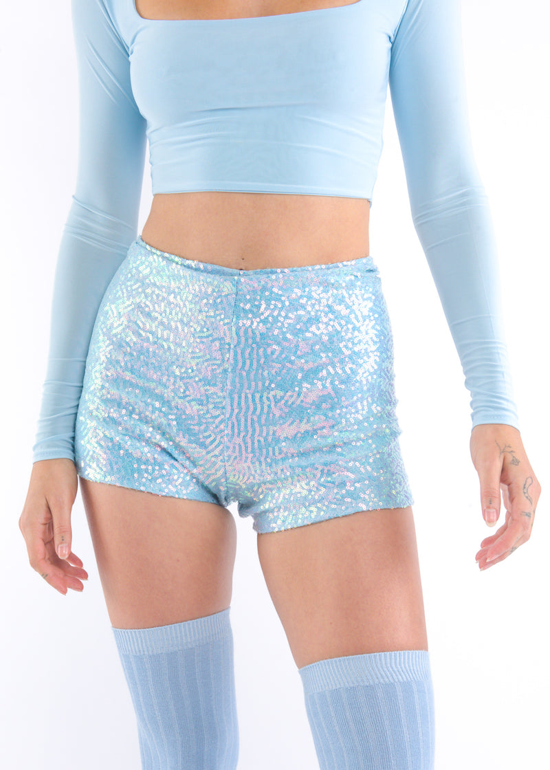Baby Blue Sequins Shorts