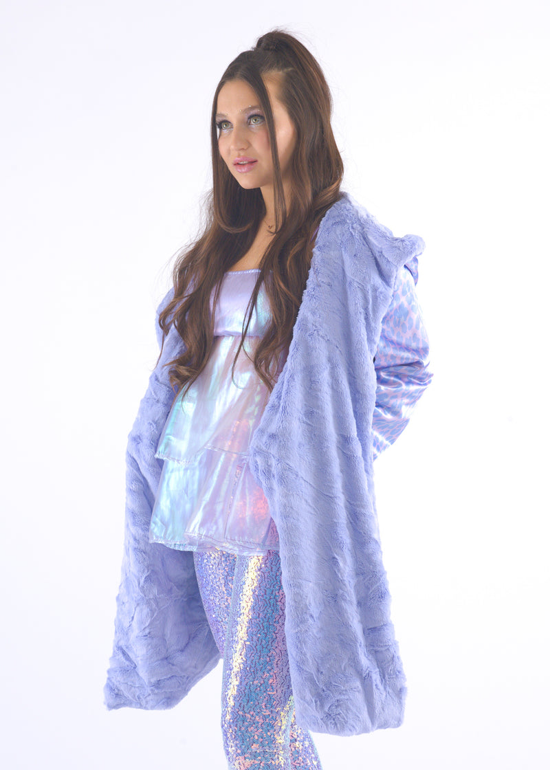 Lilac Gangsta Fur Coat