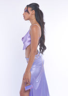 Lilac Silky Long Skirt