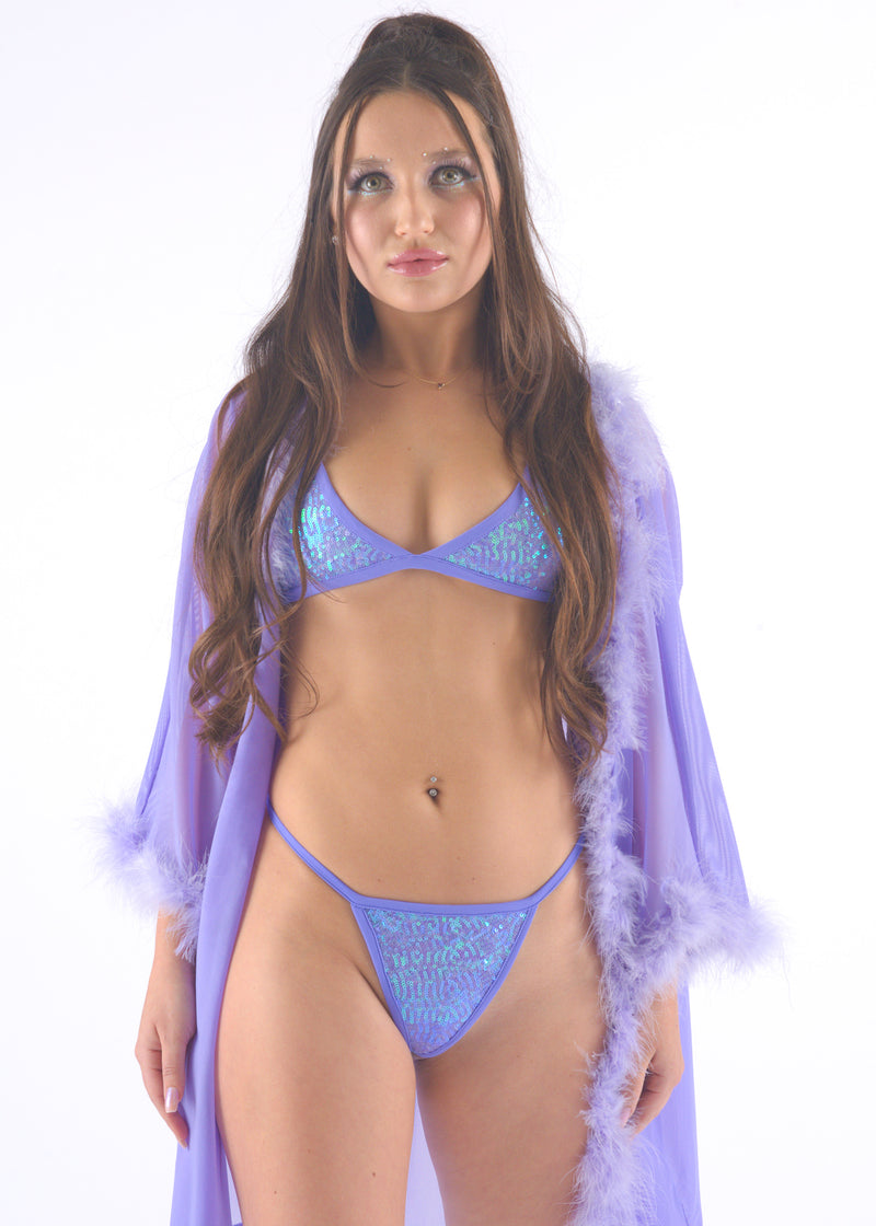 Lilac Sequin Thong