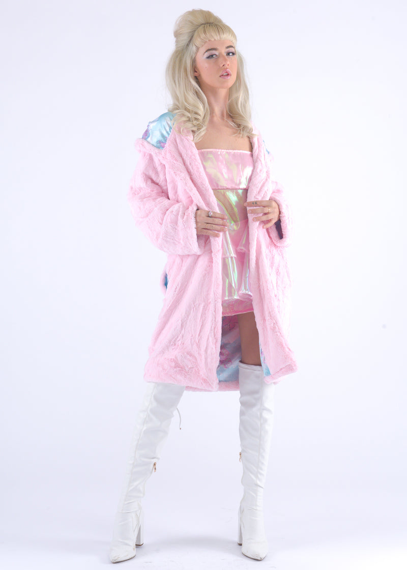 Light Pink Gangsta Fur Coat