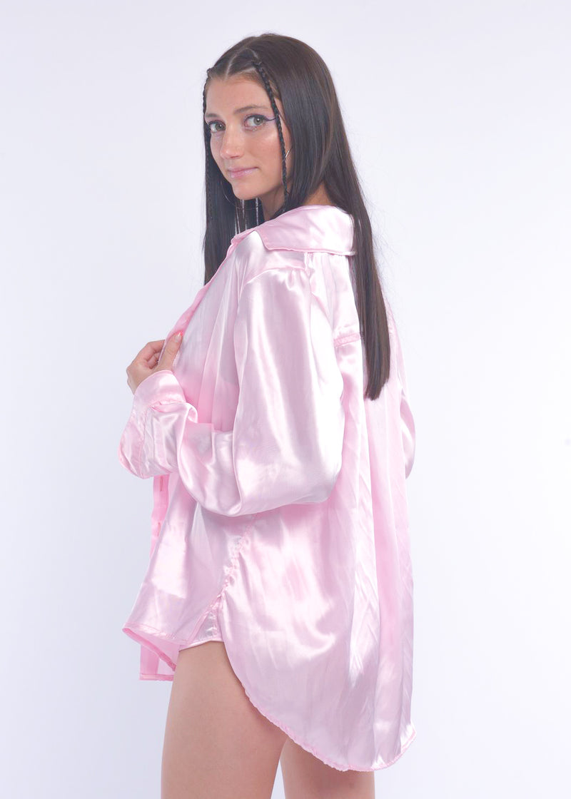 Pink Silky Button Up