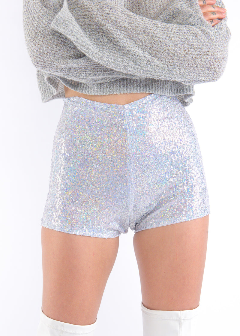 Silver Hologram Sequins Shorts