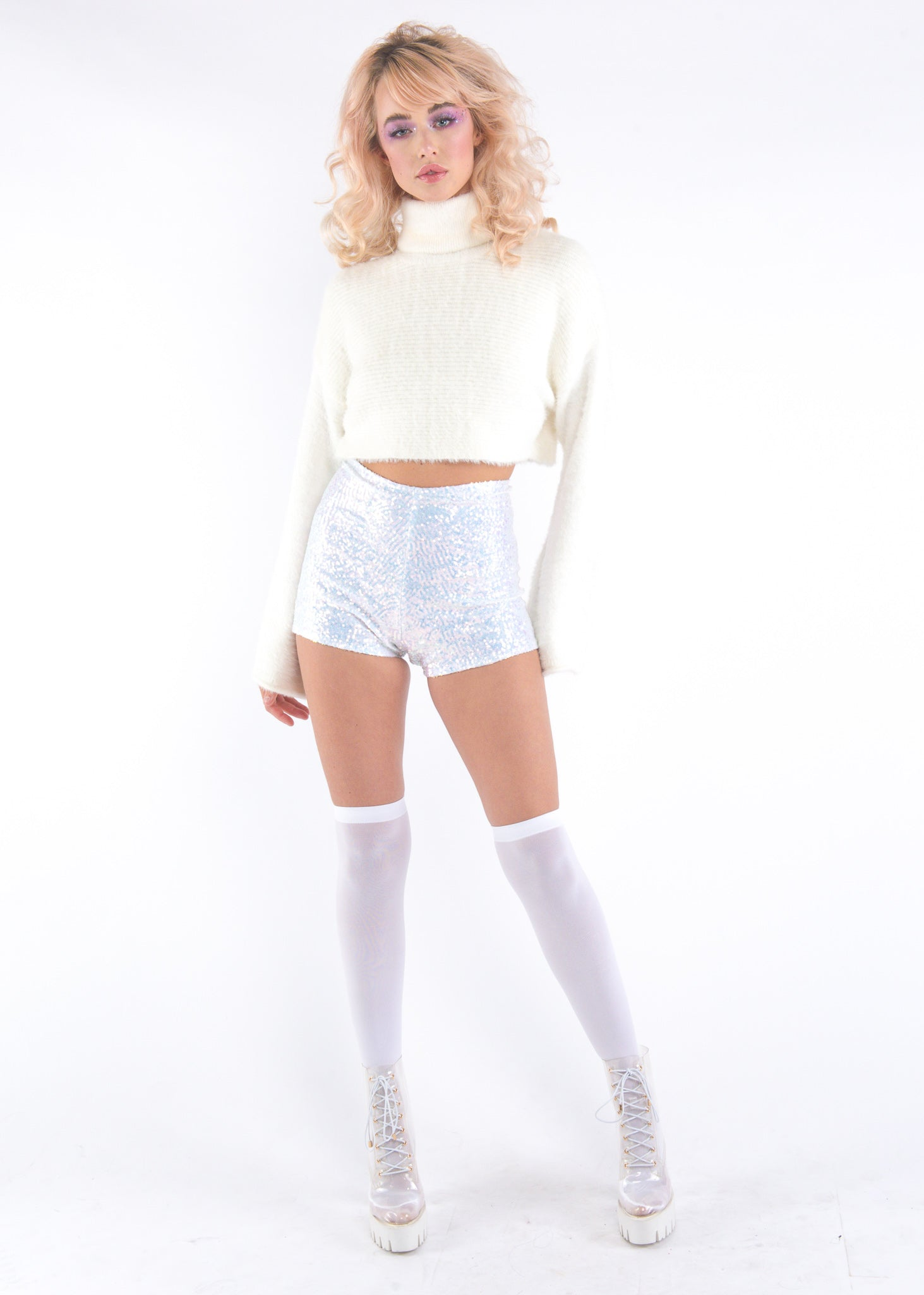 White Iridescent Sequins Shorts