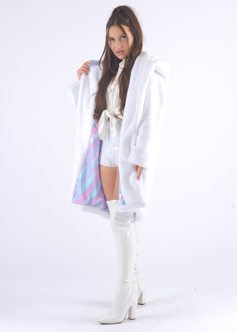 White Gangsta Fur Coat