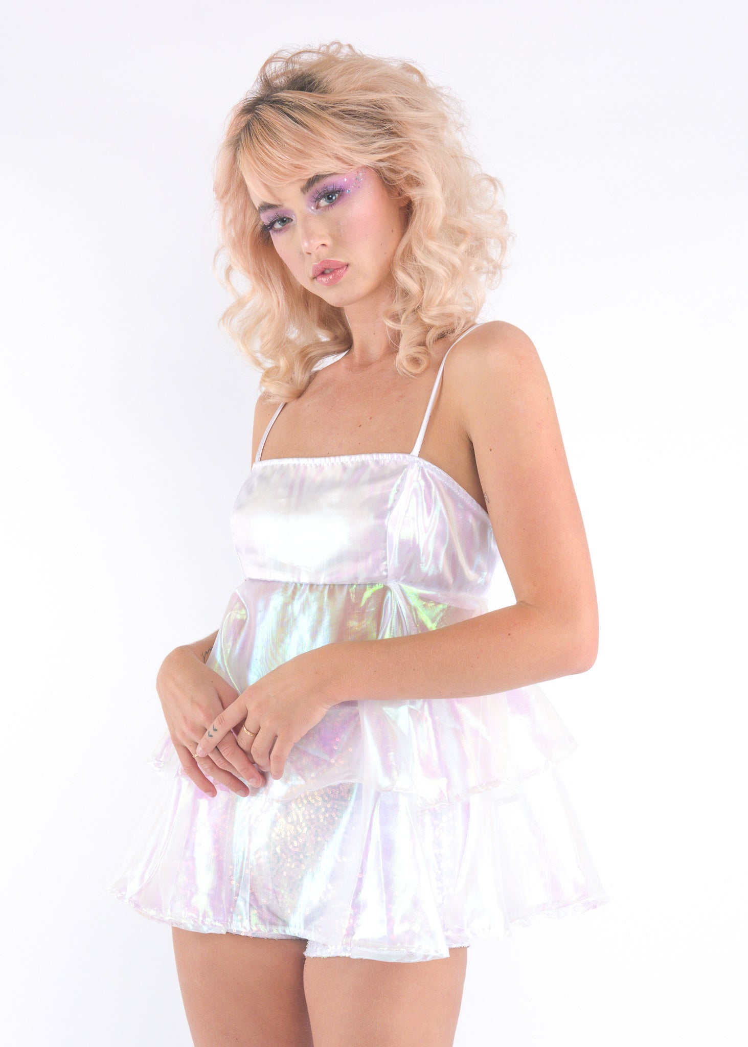 White Iridescent Cupcake Dress