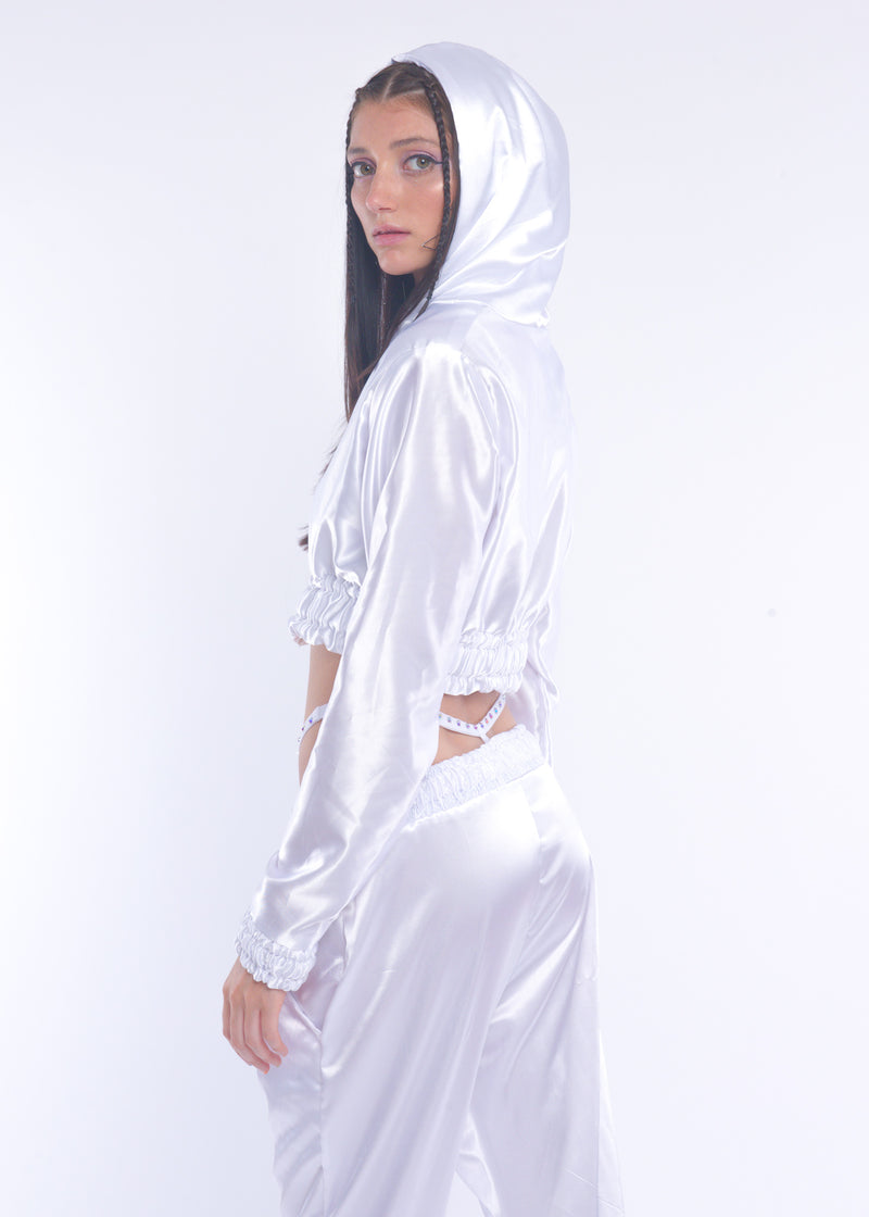 White Silky Zip-up Jacket