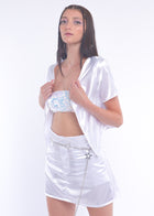 White Sequin Bandeau Top