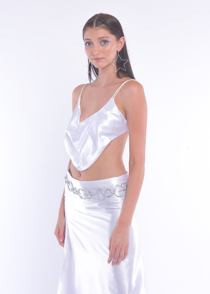 White Silky Long Skirt