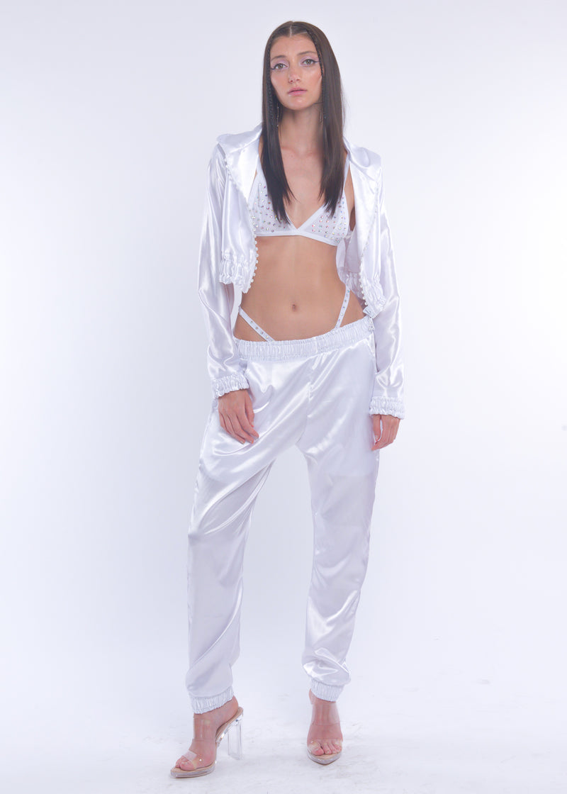 White Silky Sweat Pant