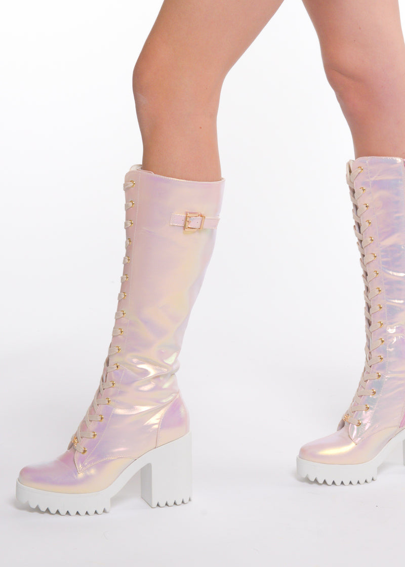 Pink Fairy Lace-up High Boot