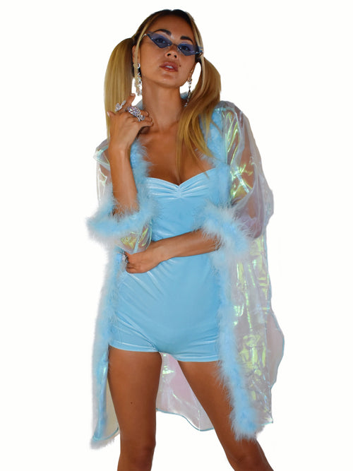 Light Blue Velvet Romper